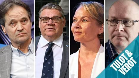 Kari Uotila, Timo Soini, Hanna-Leena Hemming ja Jari Lindström nostavat tällä hetkellä sopeutumisrahaa.