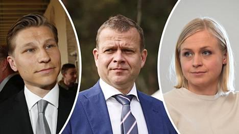 Antti Häkkänen, Petteri Orpo ja Elina Lepomäki.