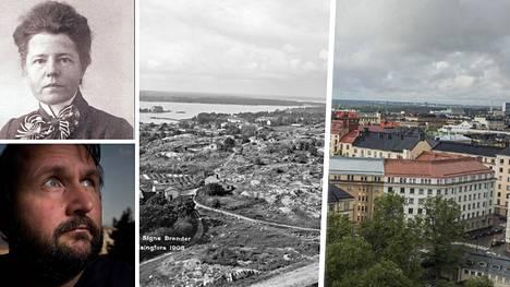 Pete Aarre-Ahtio kuvasi Signe Branderin tallentamia näkymiä uudelleen. Kuvista näkyy, kuinka Helsinki on kasvanut.