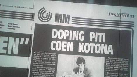 Iltalehden uutisen mukaan Sebastien Coe ei läpäissyt Iso-Britannian yleisurheilujoukkueen omaa dopingtestiä kesän 1983 MM-kisojen alla.