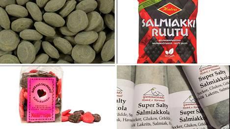 Vuosien saatossa Salmiakki-Finlandialla palkittuja tuotteita: Lakritsi Ufot, Salmiakkiruudut, Rakkaussalmiakit ja ruotsalainen Super Salty Salmiakkola.
