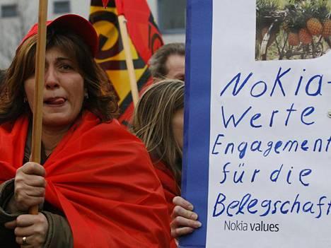 Nokiaa vastaan osoitetaan mieltä Saksassa.