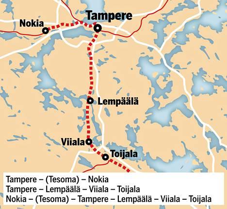 M-juna kulkee Nokian ja Toijalan väliä.