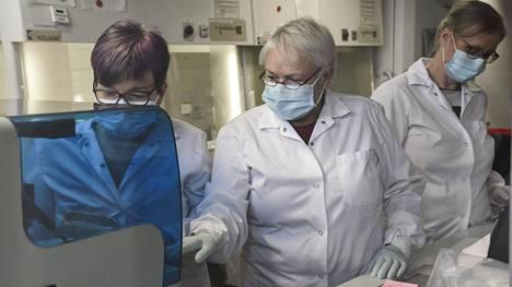 Koronanäytteiden analysointia laboratoriossa Helsingissä.