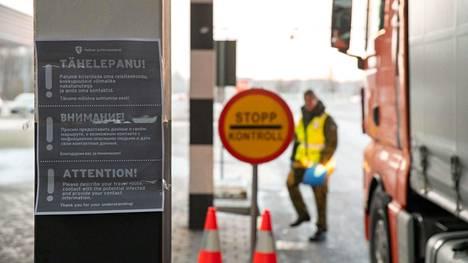 Viron ja Latvian rajalla alkoivat tarkistukset 14. maaliskuuta.