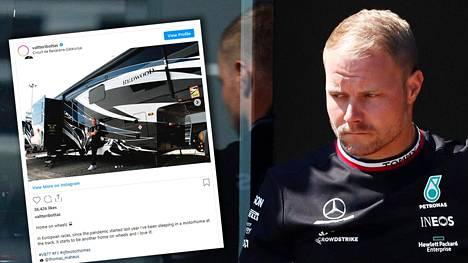 Valtteri Bottas yöpyy gp-viikonloppuina näyttävässä asuntoautossa.
