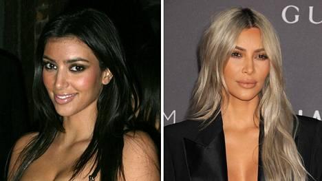Kim Kardashian on tehnyt julkisuudellaan äärimmäisen menestynyttä bisnestä. Kuvassa tosi-tv-tähti vuonna 2006 ja 2017.