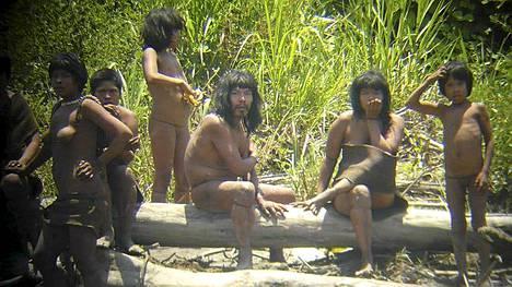 Espanjalainen tutkimusmatkailija Diego Cotijo kuvasi marraskuun puolivälissä Mascho-Piro-intiaaniheimon jäseniä Alto Madre de Dios -joen vastarannalla Kaakkois-Perussa.
