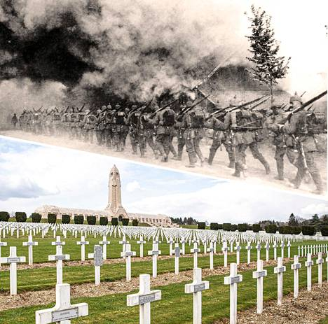 Saksalaissotilaat matkalla etulinjaan Verdunissa 1916. Taistelukentälle rakennettiin 1920-luvulla kirkko, jonka kivijalkaan on kerätty kentältä noin 200 000 miehen jäännökset.