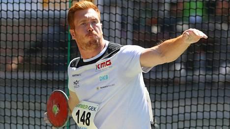 Christoph Harting on heittänyt tällä kaudella kolmanneksi pisimmän kiekkotuloksen.