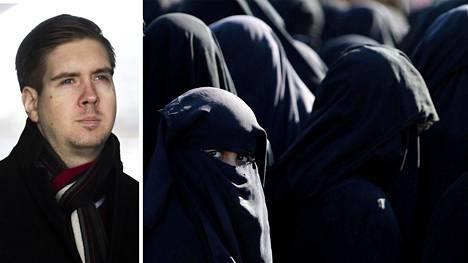 Tutkija Juha Saarinen. Naisia al-Holin leirillä Hasakassa huhtikuussa.