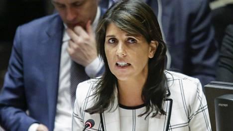 Yhdysvaltain YK-lähettiläs Nikki Haley.