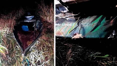 Kuvassa käytetty vene sekä haulien osumakohta veneessä.