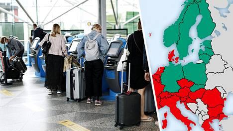 Kuvassa ihmisiä lähdössä lennoille Helsinki-Vantaalla heinäkuussa.
