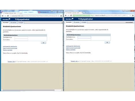 Vasemmalla väärä sivu, oikealla Nordean aito sivu. Kiinnitä huomiota sivun osoitteeseen. (Klikkaa isommaksi.)