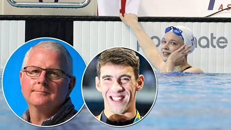Silja Känsäkoski on päässyt harjoittelemaan valmentajalegenda Bob Bowmanin (vas. pikkukuva) ohjauksessa. Bowman valmensi aiemmin historian parasta uimaria Michael Phelpsiä.