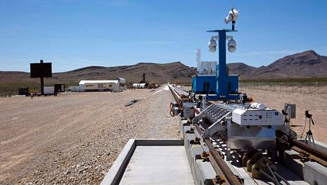 Hyperloop-junan tekniikkaa testattiin koeradalla Nevadan autiomaassa viime toukokuussa.