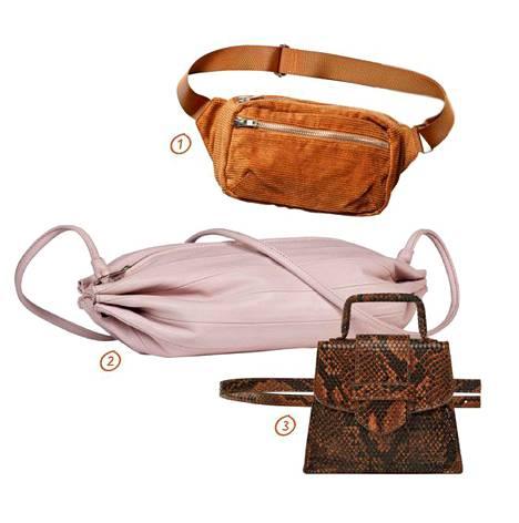 1. Trendikästä samettia vyölaukun muodossa, 30 €, Monki. 2. Jo klassikoksi muodostunutta, Marimekon nahkaista putkikassia voi pukea monin eri tavoin, 195 €. 3. Zaran minilaukusta saa myös vyöremmin irti, 22,95 €.
