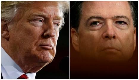 Presidentti Donald Trump (vas.) ja tämän tehtävästään erottama FBI-johtaja James Comey.