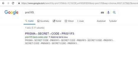 """Kun """"lahjakorttikoodin"""" laittaa Googleen, tuloksia tulee vain yksi: itse huijaussivu."""