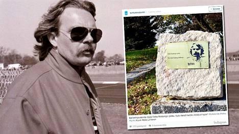 Keke Rosberg vuonna 1990 ja Turkuun ilmestynyt kunnianosoitus.