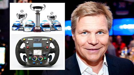 Mika Salo huutokauppaa F1-välineitään.