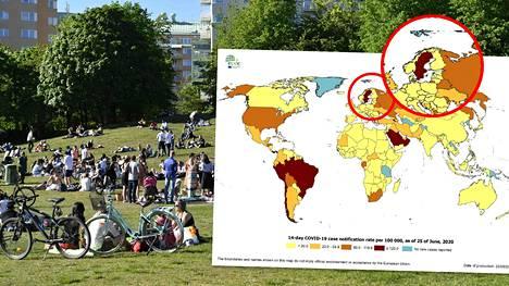 Euroopan tautikeskus ECDC:n karttakuvassa Ruotsi hehkuu tummanpunaisena.