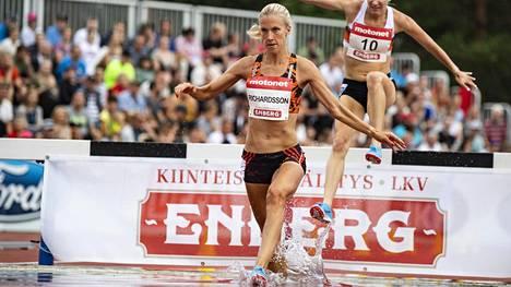 Camilla Richardsson nousi Suomen kaikkien aikojen tilastossa toiseksi. Kuva viime vuoden Kalevan kisoista.