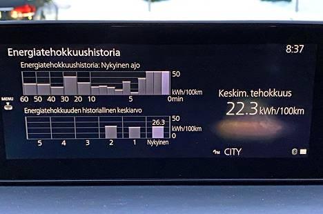 Oman ajamisensa energiatehokkuutta voi kätevästi seurata ajotietokoneen kosketusnäytön lähilehdeltä.