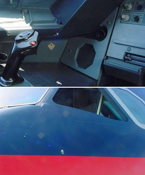 Kuvissa näkyy luodin aiheuttama reikä ohjaamossa ja lentokoneen kyljessä.