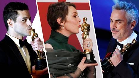Rami Malek (vas.), Olivia Colman ja Alfonso Cuaron juhlivat viime vuonna Oscareita.