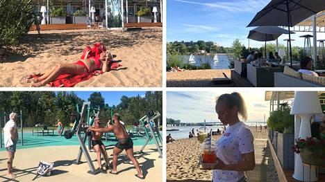 Lyhyen kävelymatkan päässä Pietarin Gazprom-areenalta löytyy tällaisia rantamaisemia, auringonottajia, kuntoilijoita ja useita viihtyisiä rantaravintoloita.