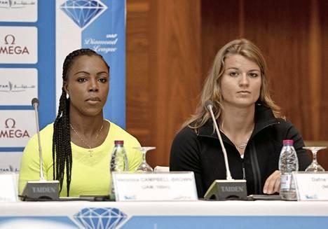 Veronica Campbell-Brown ja Dafne Schippers olivat totisia Dohan Timanttiliigan aattopäivänä.