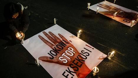 Jakartassa järjestettiin 28. heinäkuuta teloituksia vastustava mielenosoitus.