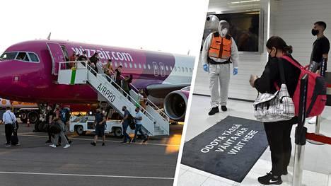 Lento Skopjesta laskeutui Turun lentoasemalle tiistaina illalla. Matkustajia vastaanottavat rajavartijat olivat pukeutuneet suojavarusteisiin.
