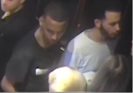 Neljää nuorta ulkomaalaistaustaisessa seurueessa ollutta miestä epäillään rikoksista. Poliisi pyrkii tunnistamaan molemmat kuvassa olevat miehet: mustapaitaisen, jonka paidassa oli valkoiset silmät ja valkopaitaisen.