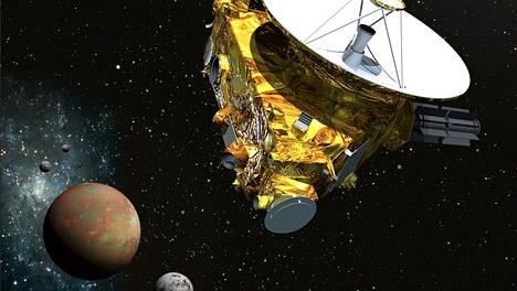 Taiteilijan näkemys New Horizons -luotaimesta ohittamassa Plutoa ja sen kolmea kuuta.