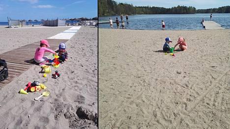 Vasemmalla rantaleikkejä Espanjassa, oikealla rantaleikkejä Möysän rannalla Lahdessa.