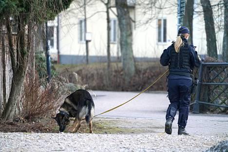 Poliisin koirapartio tutki aluetta hyökkäyksen jälkeen.