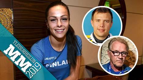 Maria Huntingtonia tukevat valmentaja Matti Liimatainen ja poikaystävä Riku Dufva.