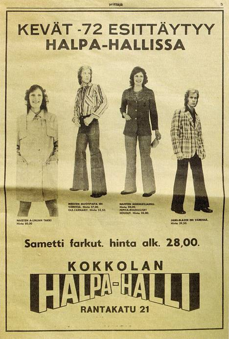 Kevään 1972 mainontaa.