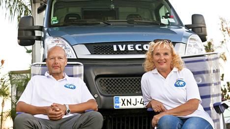 Pekka ja Päivi Heiskanen Anahemissa Kaliforniassa, josta matka jatkuu kohti Kanadaa.