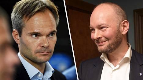 Ministerit Kai Mykkänen (vas.) ja Sampo Terho ajautuivat nokkapokkaan poliisien määristä ja rahoituksesta.