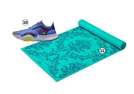 10. Niken Superrep Go -tennareiden joustava pohja sopii aerobiciin, 109,90 €. 11. Gaiamin joogamatossa on barokkikuvio, 29,99 €.