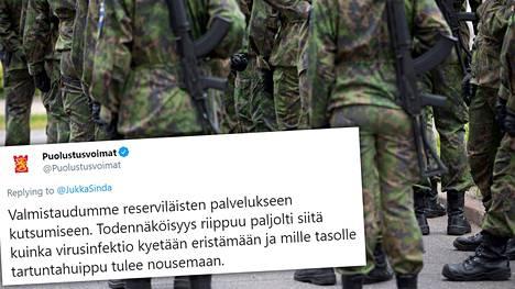 Puolustusvoimat valmistautuu reserviläisten palvelukseen kutsumiseen.