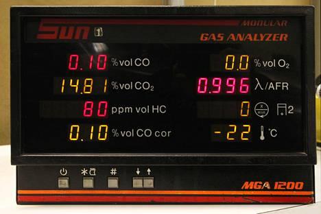 Tältä näyttää bensiinikäyttöisen auton pakokaasumittauksen tulos.