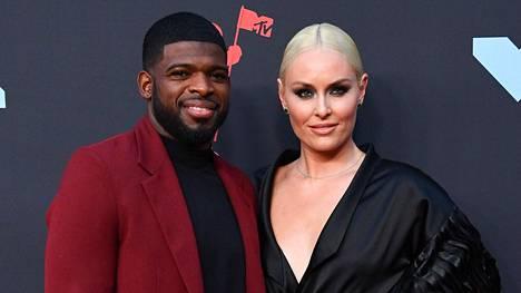 Lindsey Vonn ja hänen kihlattunsa P.K. Subban esiintyivät ensimmäiseä kertaa yhdessä julkisuudessa kihlauksensa jälkeen MTV:n Video Music Awards -gaalassa.