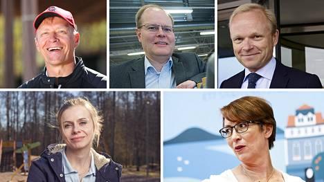 Muun muassa Arto Bryggare (vas. ylh.), Eero Broman, Pekka Lundmark, Riikka Pakarinen ja Sari Essyah ovat ehdolla SUL:n uudeksi puheenjohtajaksi.