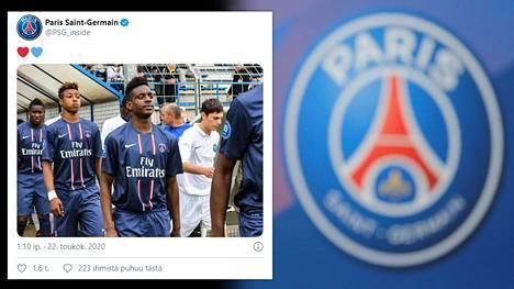 Jordan Diakiese (edessä) kuoli torstaina vain 24-vuotiaana. Hänen takanaan kävelee Paris Saint-Germainia edelleen edustava Presnel Kimpembe.