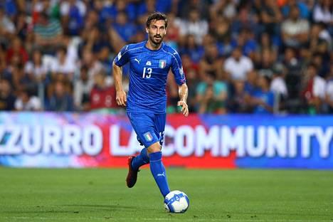 Davide Astori MM-karsintaottelussa Italian ja Israelin välillä syyskuussa 2017.